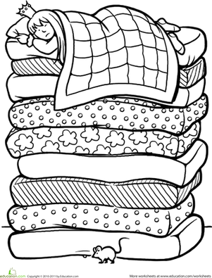 First Grade Coloring Worksheets: Color the Princess and the Pea