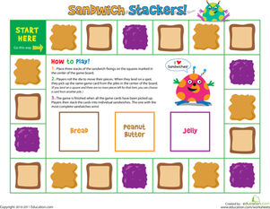Preschool Offline games Worksheets: Sandwich Stacker