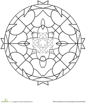 Kindergarten Coloring Worksheets: Mandala Design