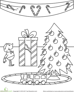 Kindergarten Holidays & Seasons Worksheets: Present Coloring Page