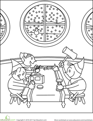 Kindergarten Holidays & Seasons Worksheets: Color the Christmas Elves