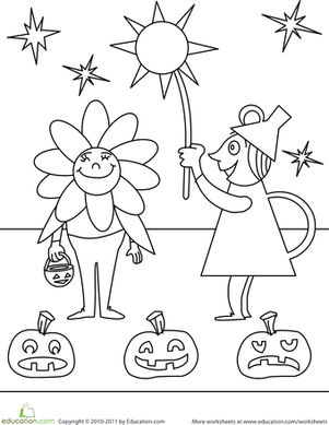Kindergarten Holidays & Seasons Worksheets: Color the Fun Halloween Scene