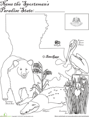 First Grade Coloring Worksheets: Pelican State