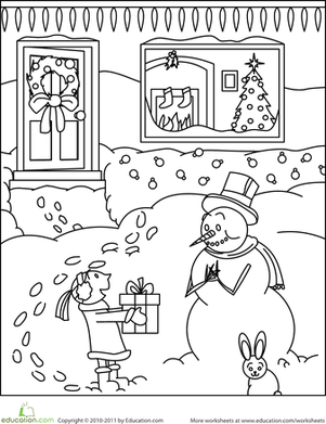 First Grade Holidays & Seasons Worksheets: Color the Snowman's Gift
