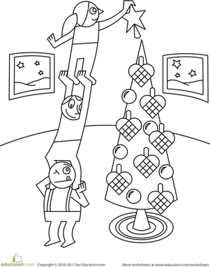 Kindergarten Holidays Worksheets: Color the Christmas Tree Decorating