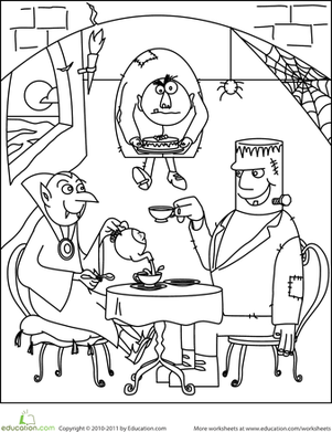 First Grade Holidays Worksheets: Color the Monster Tea Party