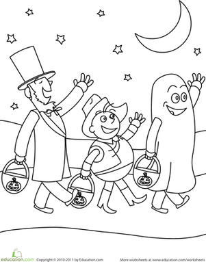 First Grade Holidays & Seasons Worksheets: Trick-or-Treating Friends