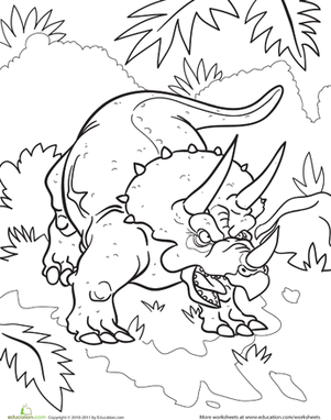 First Grade Coloring Worksheets: Color the Tough Triceratops