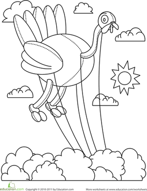 Kindergarten Holidays Worksheets: Color the Turkey Balloon