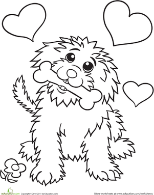 Kindergarten Coloring Worksheets: Cute Dog Coloring Page