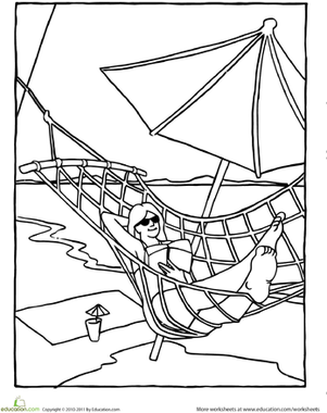 Kindergarten Holidays & Seasons Worksheets: Color the Hammock on the Beach