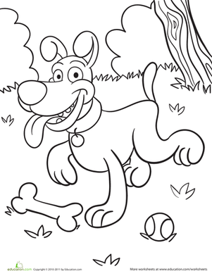 Kindergarten Coloring Worksheets: Playful Pup Coloring Page