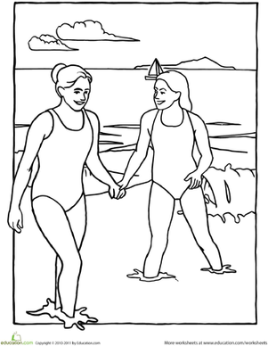 Preschool Holidays & Seasons Worksheets: Beach Fun Coloring Page