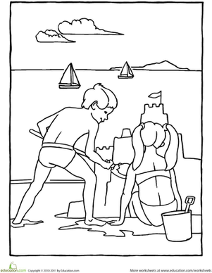 Kindergarten Seasons Worksheets: Color the Sandcastle