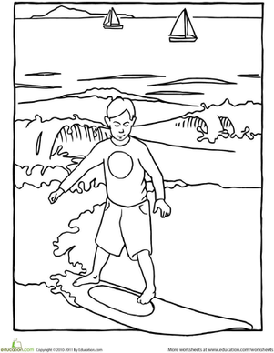 Kindergarten Holidays & Seasons Worksheets: Color a Surfer!