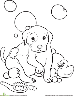 Color the Doggy Bubble Bath