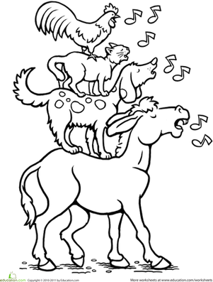 First Grade Coloring Worksheets: Color the Bremen Town Musicians