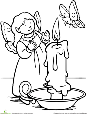 First Grade Coloring Worksheets: Color the Moth Fairy