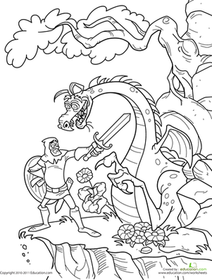 First Grade Coloring Worksheets: Knight and Dragon Coloring Page