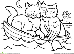 Kindergarten Coloring Worksheets: Color the Owl and the Pussycat