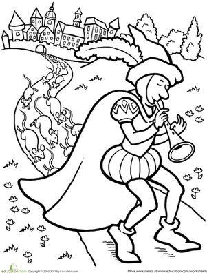 Second Grade Coloring Worksheets: Color the Pied Piper
