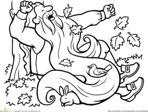 First Grade Coloring Worksheets: Color Rip Van Winkle