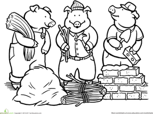 Color the Three Little Pigs | Worksheet | Education.com