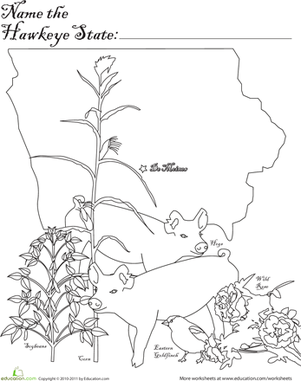 First Grade Coloring Worksheets: Hawkeye State