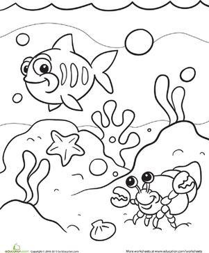 Preschool Coloring Worksheets: Under the Sea Coloring Page