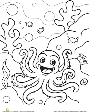 Preschool Coloring Worksheets: Octopus Coloring Page