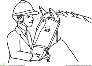Kindergarten Coloring Worksheets: Color the Jockey and the Horse