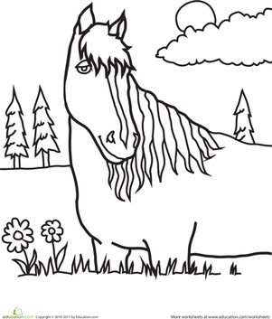 First Grade Coloring Worksheets: Color the Pretty Horse