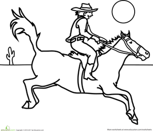 First Grade Coloring Worksheets: Cowboy Coloring Page
