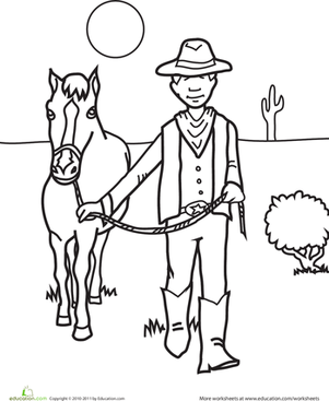 First Grade Coloring Worksheets: Color the Cowboy and His Horse