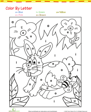 Preschool Reading & Writing Worksheets: Color by Letter: Bunny