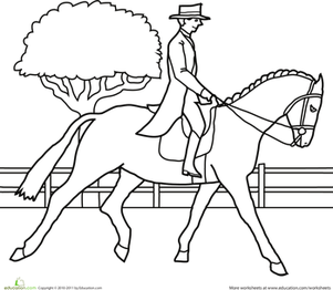 First Grade Coloring Worksheets: Color the Fancy Equestrian