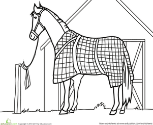 First Grade Coloring Worksheets: Color the Horse at the Barn