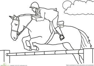 First Grade Coloring Worksheets: Color The Jumping Horse