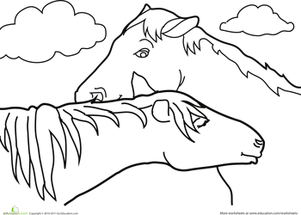 Kindergarten Coloring Worksheets: Color the Cuddling Horses