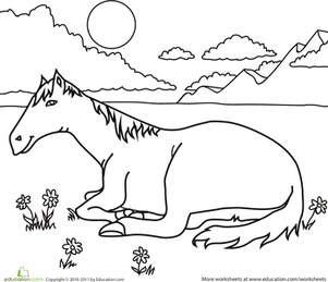 Kindergarten Coloring Worksheets: Color the Resting Horse