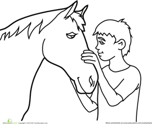 Preschool Coloring Worksheets: Color the Horse and His Friend