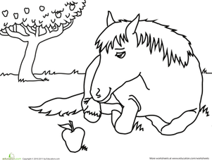 Kindergarten Coloring Worksheets: Color the Snacking Horse