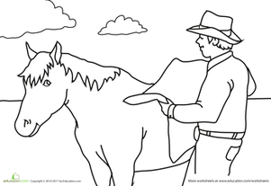 Preschool Coloring Worksheets: Color the Cowboy Scene