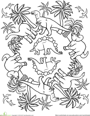 First Grade Coloring Worksheets: Pattern Coloring Page: Dinos!