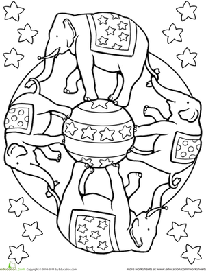 First Grade Coloring Worksheets: Elephant Mandala