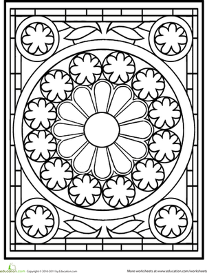Second Grade Coloring Worksheets: Stained Glass Mandala
