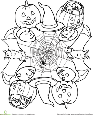 First Grade Holidays Worksheets: Halloween Mandala