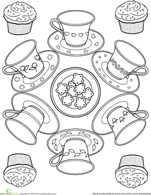 First Grade Coloring Worksheets: Teacup Coloring Page