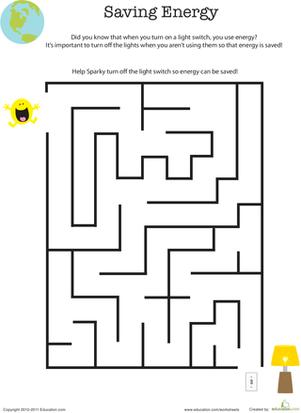 Eco friendly maze saving energy worksheet for Solar energy articles for kids