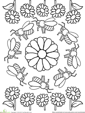 Preschool Coloring Worksheets: Color a Mandala: Bees